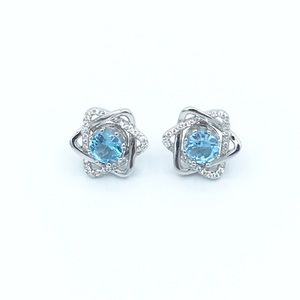 Jewelry - ✨925 Sterling Silver Stars Topaz Stud Earrings✨
